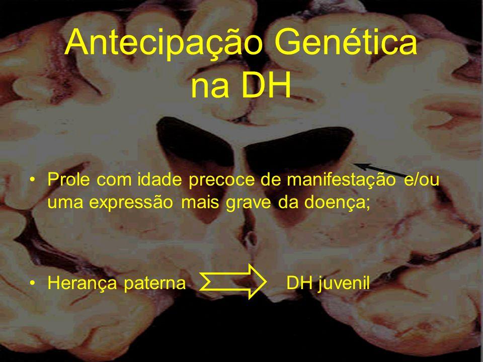 Antecipação Genética na DH Prole com idade precoce de manifestação e/ou uma expressão mais grave da doença; Herança paterna DH juvenil