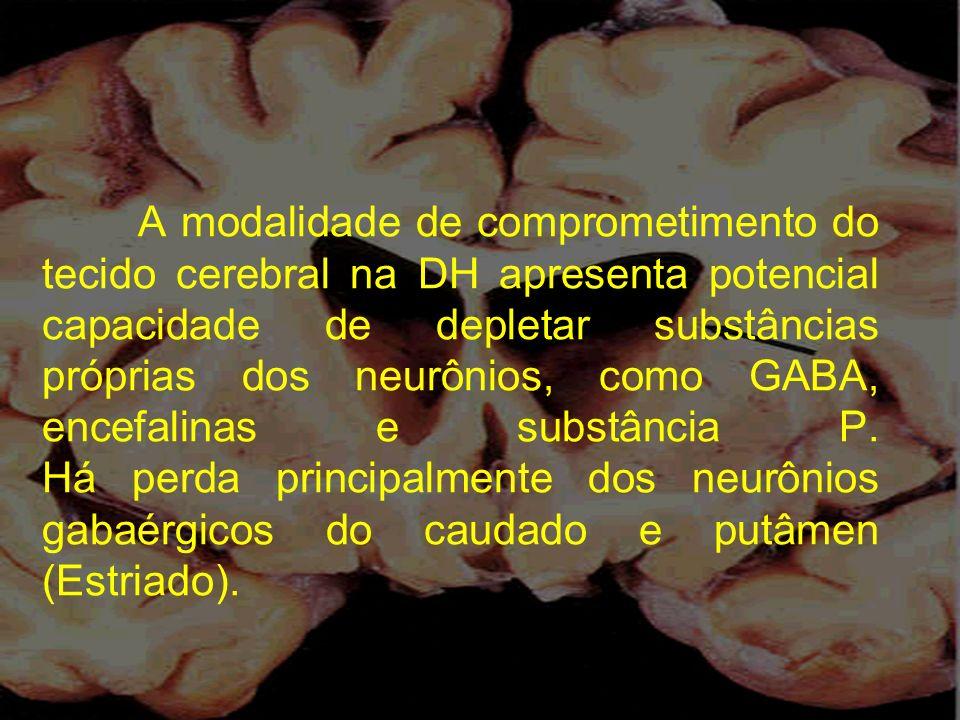 A modalidade de comprometimento do tecido cerebral na DH apresenta potencial capacidade de depletar substâncias próprias dos neurônios, como GABA, enc