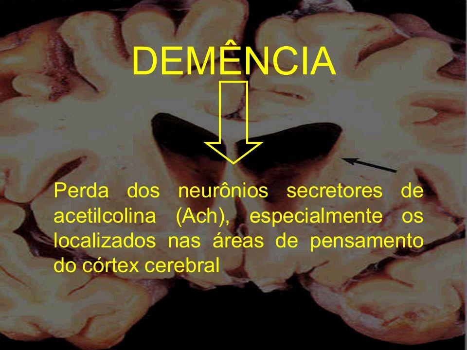 DEMÊNCIA Perda dos neurônios secretores de acetilcolina (Ach), especialmente os localizados nas áreas de pensamento do córtex cerebral