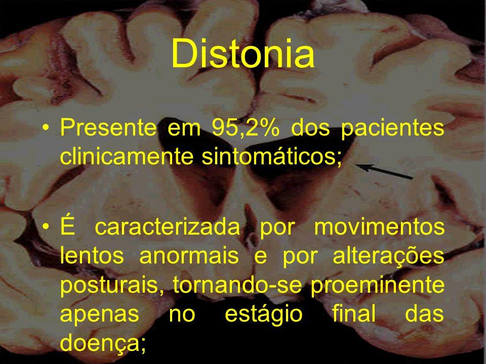 Distonia Presente em 95,2% dos pacientes clinicamente sintomáticos; É caracterizada por movimentos lentos anormais e por alterações posturais, tornand