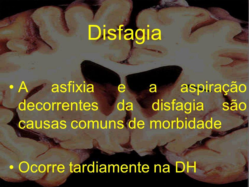 Disfagia A asfixia e a aspiração decorrentes da disfagia são causas comuns de morbidade Ocorre tardiamente na DH