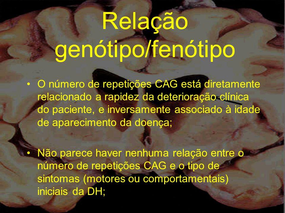 Relação genótipo/fenótipo O número de repetições CAG está diretamente relacionado a rapidez da deterioração clínica do paciente, e inversamente associ