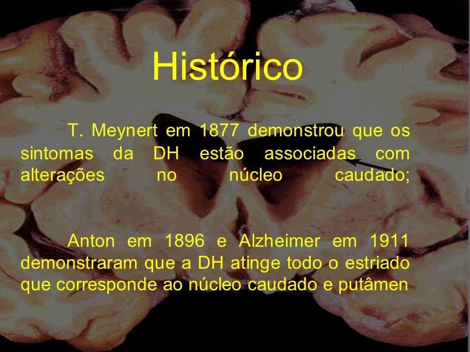 T. Meynert em 1877 demonstrou que os sintomas da DH estão associadas com alterações no núcleo caudado; Anton em 1896 e Alzheimer em 1911 demonstraram