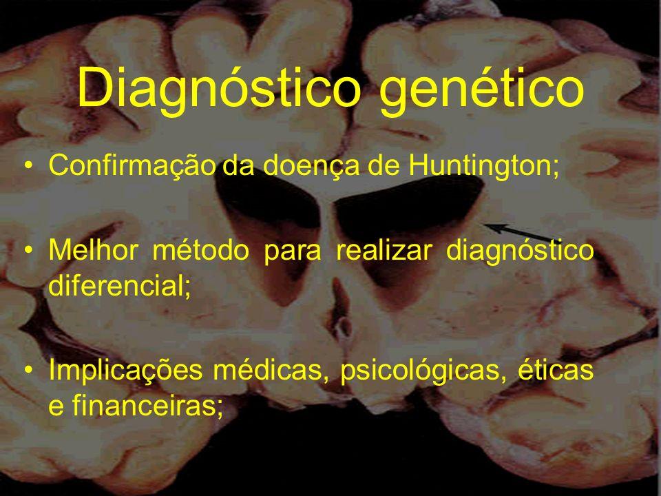 Diagnóstico genético Confirmação da doença de Huntington; Melhor método para realizar diagnóstico diferencial; Implicações médicas, psicológicas, étic