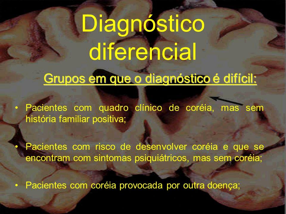Diagnóstico diferencial Grupos em que o diagnóstico é difícil: Pacientes com quadro clínico de coréia, mas sem história familiar positiva; Pacientes c