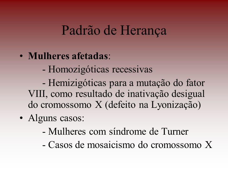 Padrão de Herança Mulheres afetadas: - Homozigóticas recessivas - Hemizigóticas para a mutação do fator VIII, como resultado de inativação desigual do