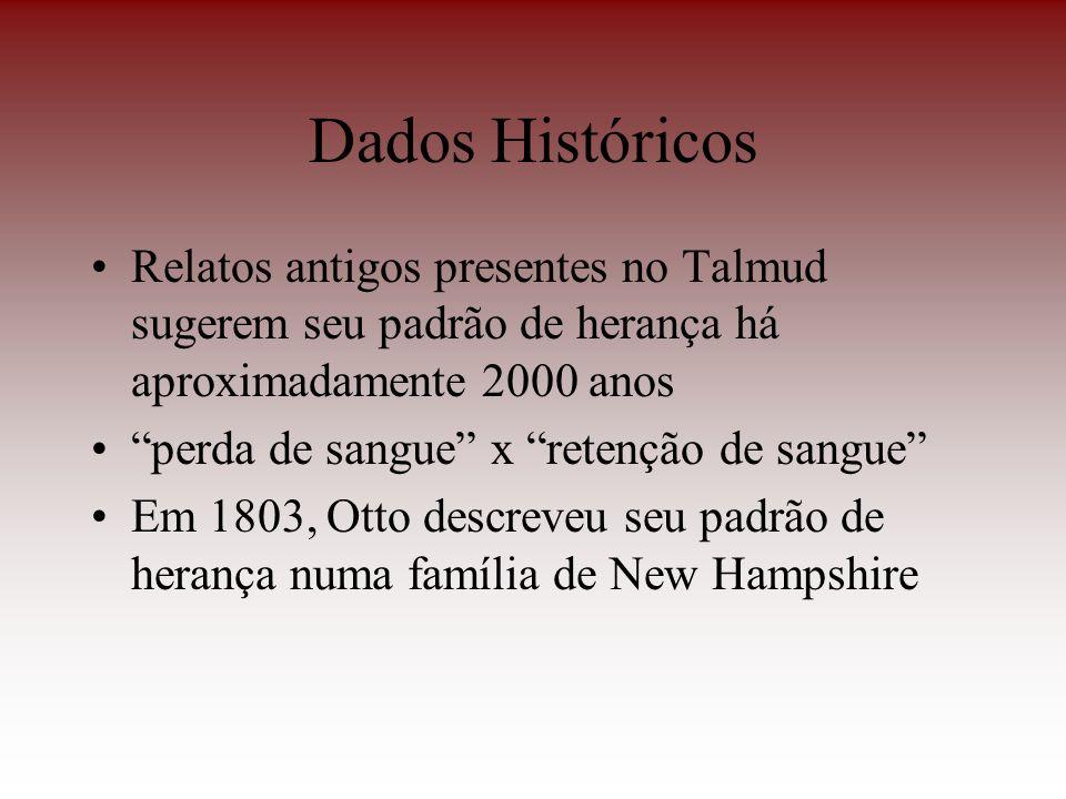 Dados Históricos Relatos antigos presentes no Talmud sugerem seu padrão de herança há aproximadamente 2000 anos perda de sangue x retenção de sangue E