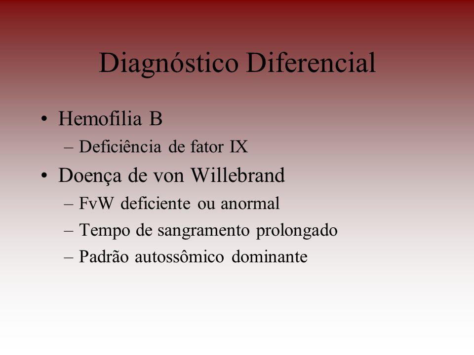 Diagnóstico Diferencial Hemofilia B –Deficiência de fator IX Doença de von Willebrand –FvW deficiente ou anormal –Tempo de sangramento prolongado –Pad