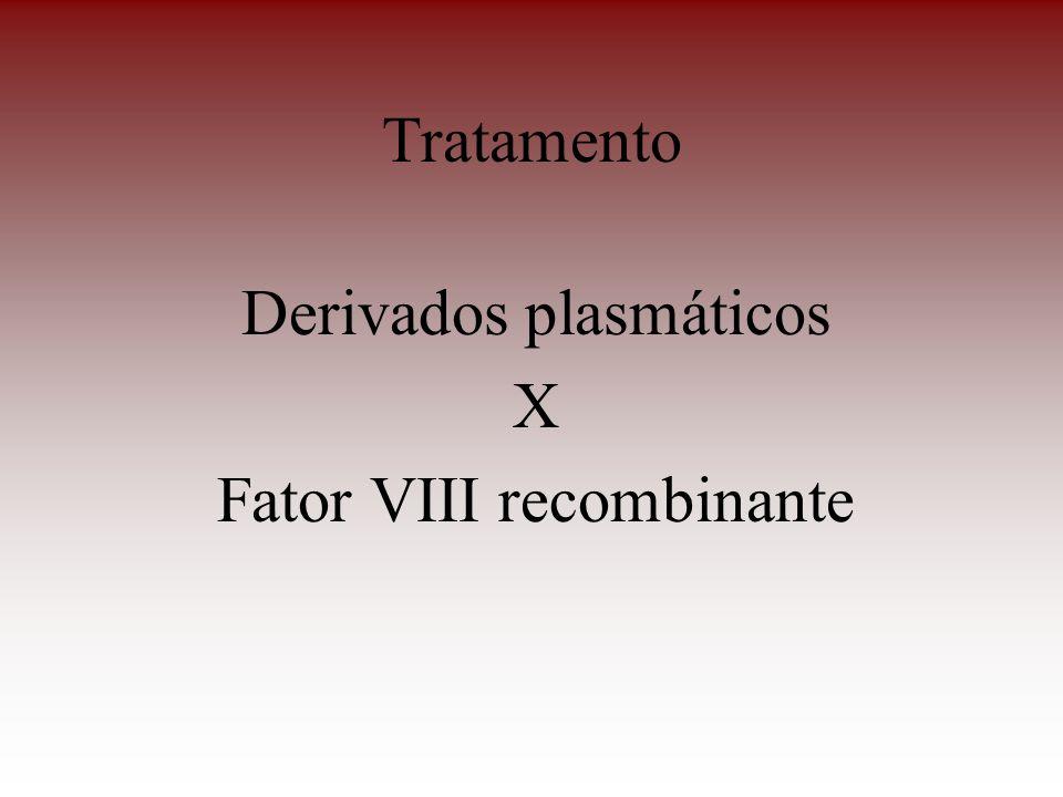 Tratamento Derivados plasmáticos X Fator VIII recombinante