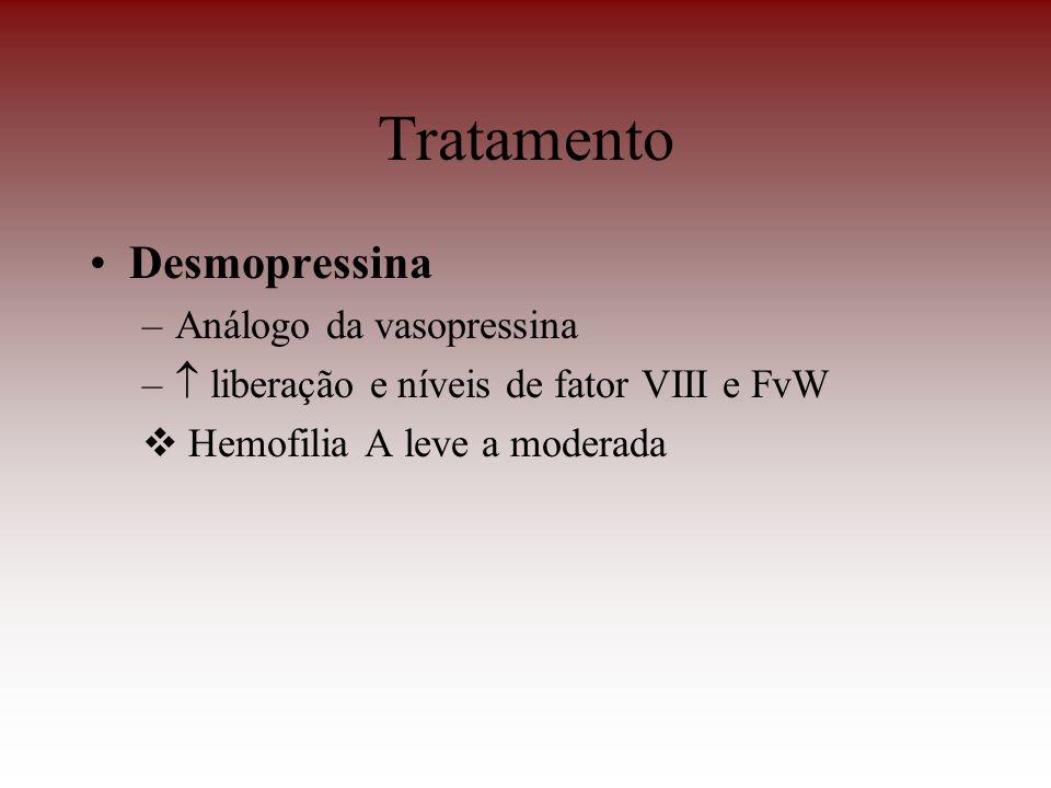Tratamento Desmopressina –Análogo da vasopressina – liberação e níveis de fator VIII e FvW Hemofilia A leve a moderada