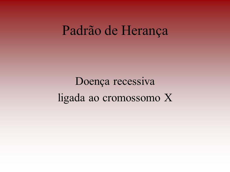 Padrão de Herança Doença recessiva ligada ao cromossomo X