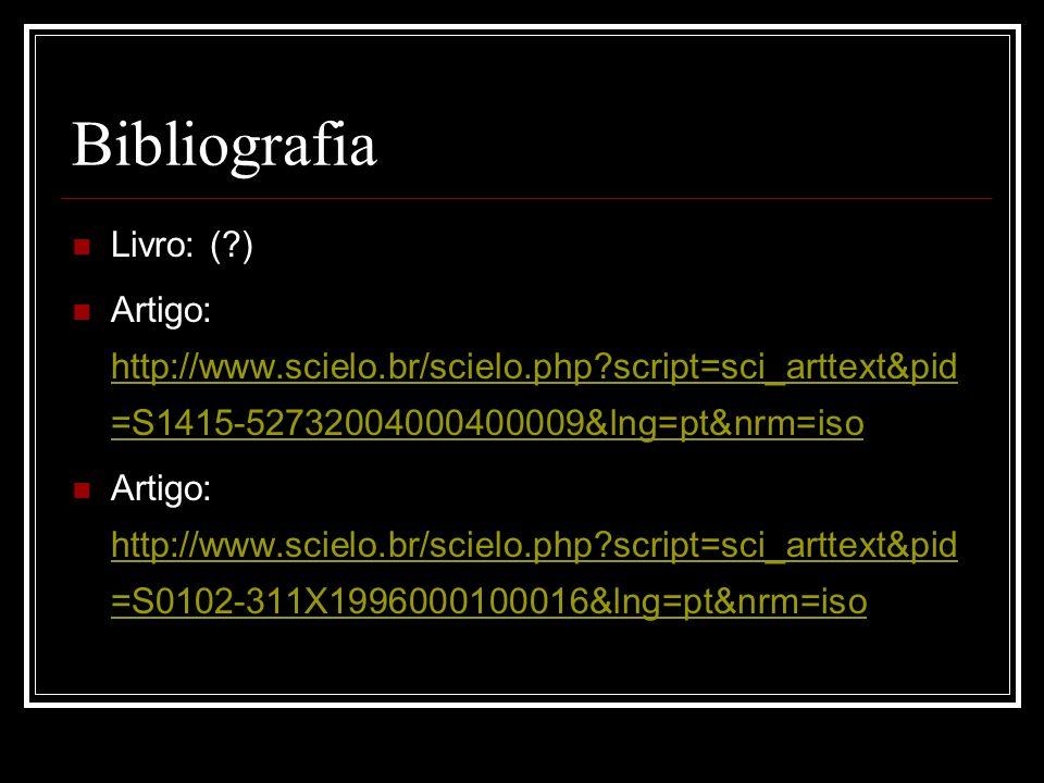 Bibliografia Livro: (?) Artigo: http://www.scielo.br/scielo.php?script=sci_arttext&pid =S1415-52732004000400009&lng=pt&nrm=iso http://www.scielo.br/sc