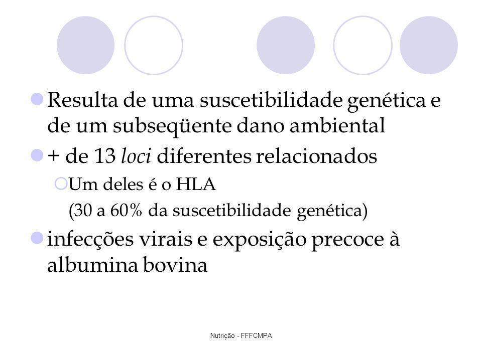 Nutrição - FFFCMPA Resulta de uma suscetibilidade genética e de um subseqüente dano ambiental + de 13 loci diferentes relacionados Um deles é o HLA (3