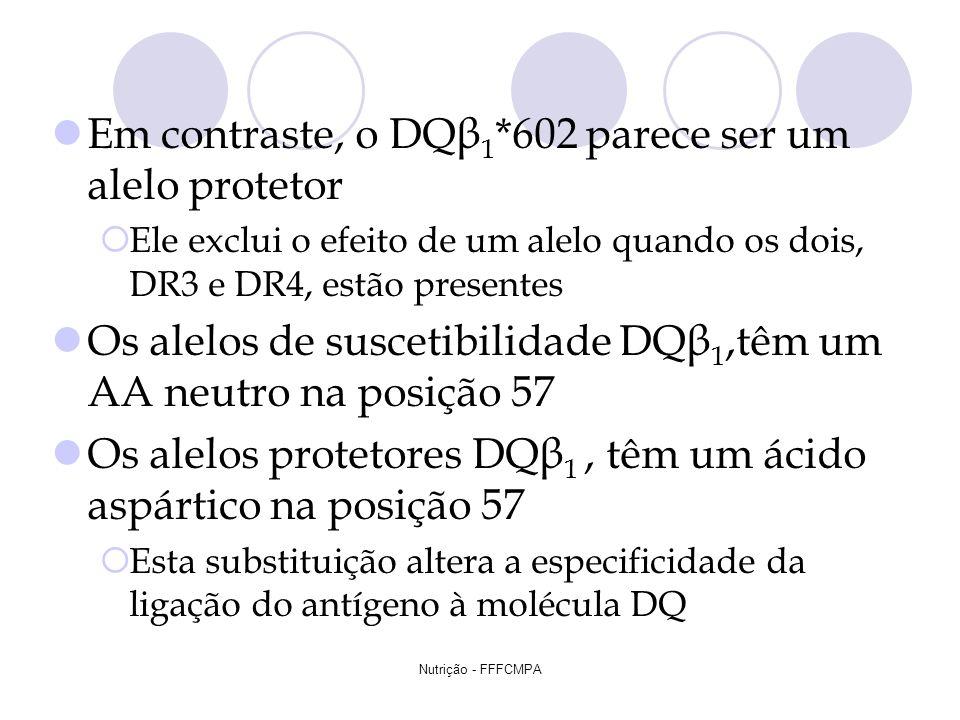 Nutrição - FFFCMPA Em contraste, o DQβ 1 *602 parece ser um alelo protetor Ele exclui o efeito de um alelo quando os dois, DR3 e DR4, estão presentes