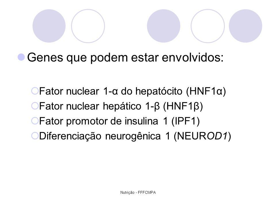 Nutrição - FFFCMPA Genes que podem estar envolvidos: Fator nuclear 1-α do hepatócito (HNF1α) Fator nuclear hepático 1-β (HNF1β) Fator promotor de insu
