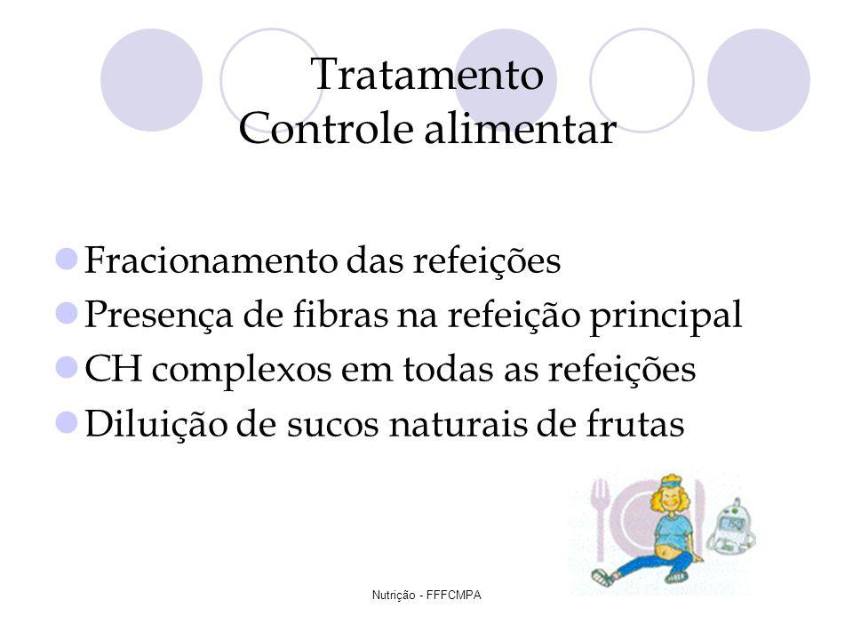 Nutrição - FFFCMPA Tratamento Controle alimentar Fracionamento das refeições Presença de fibras na refeição principal CH complexos em todas as refeiçõ