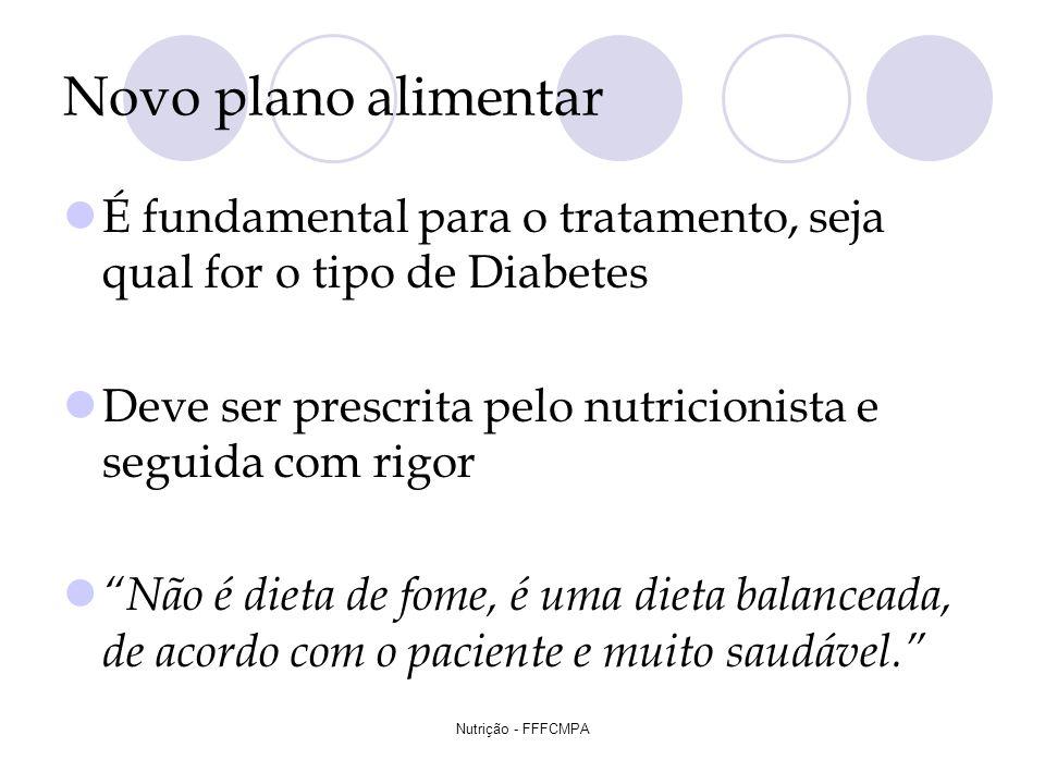 Nutrição - FFFCMPA Novo plano alimentar É fundamental para o tratamento, seja qual for o tipo de Diabetes Deve ser prescrita pelo nutricionista e segu