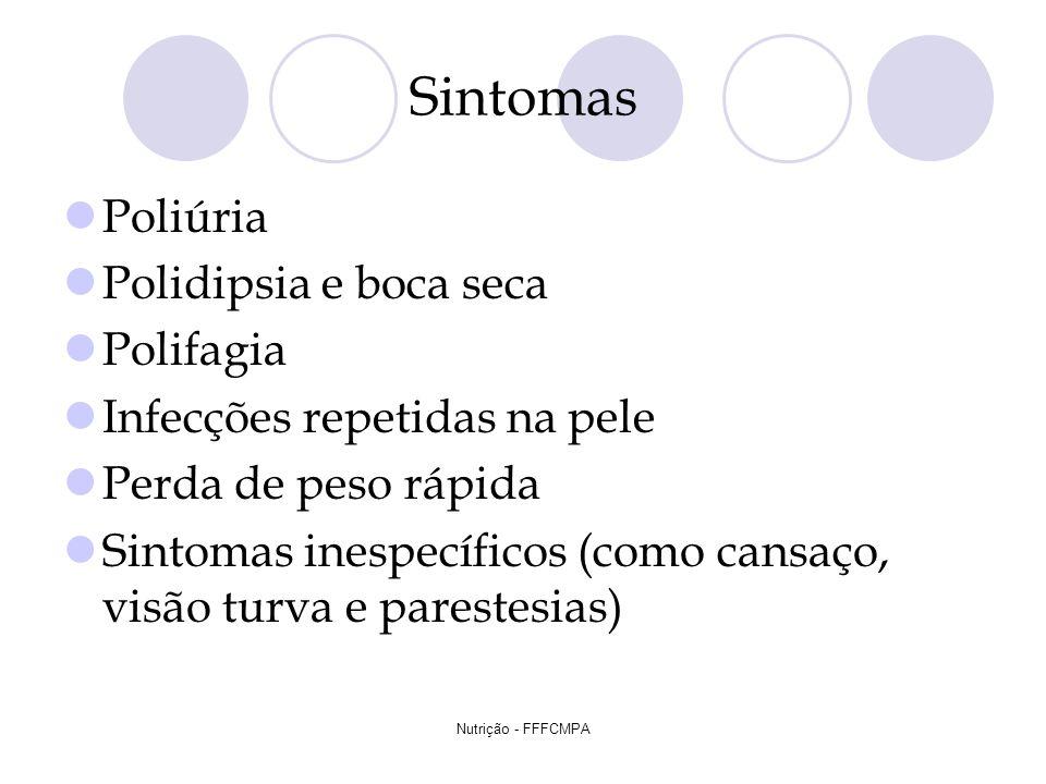 Nutrição - FFFCMPA Sintomas Poliúria Polidipsia e boca seca Polifagia Infecções repetidas na pele Perda de peso rápida Sintomas inespecíficos (como ca