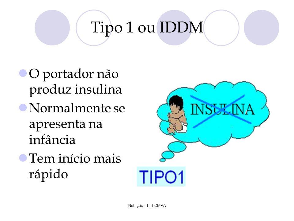 Nutrição - FFFCMPA Tipo 1 ou IDDM O portador não produz insulina Normalmente se apresenta na infância Tem início mais rápido