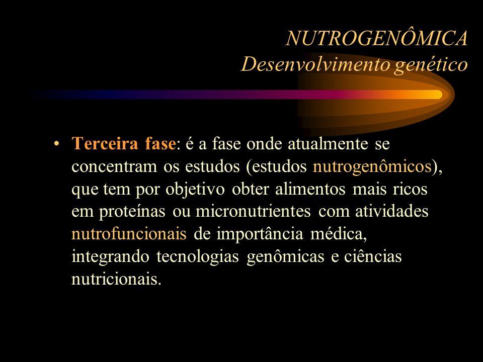NUTROGENÔMICA Desenvolvimento genético Terceira fase: é a fase onde atualmente se concentram os estudos (estudos nutrogenômicos), que tem por objetivo