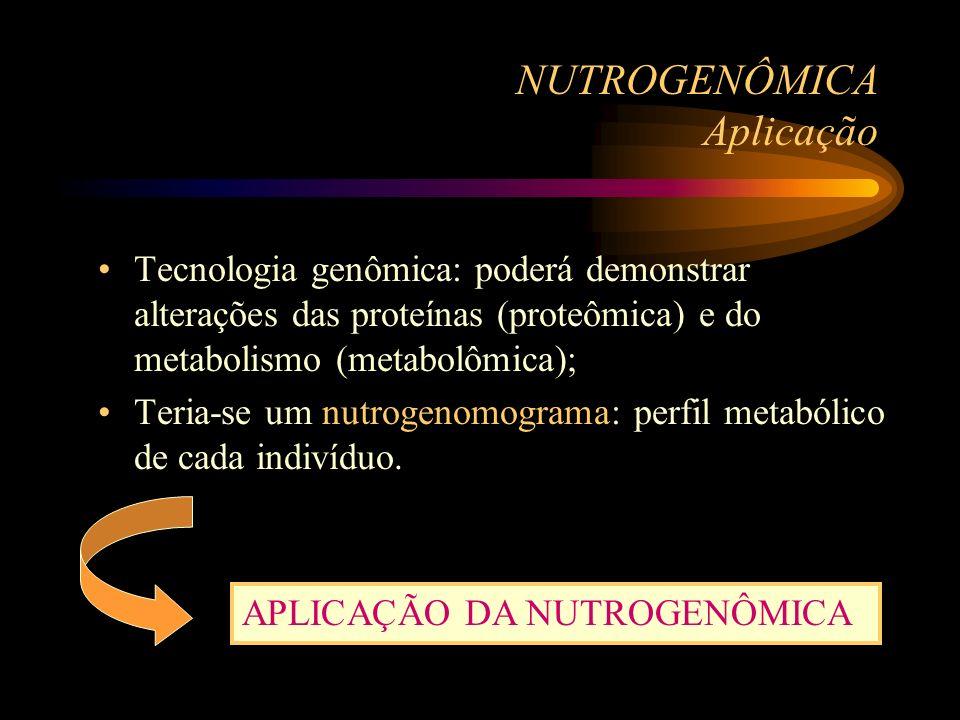 NUTROGENÔMICA Aplicação Tecnologia genômica: poderá demonstrar alterações das proteínas (proteômica) e do metabolismo (metabolômica); Teria-se um nutr