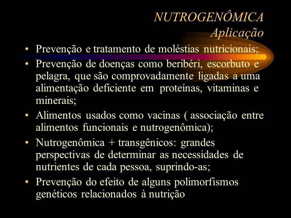 NUTROGENÔMICA Aplicação Prevenção e tratamento de moléstias nutricionais; Prevenção de doenças como beribéri, escorbuto e pelagra, que são comprovadam