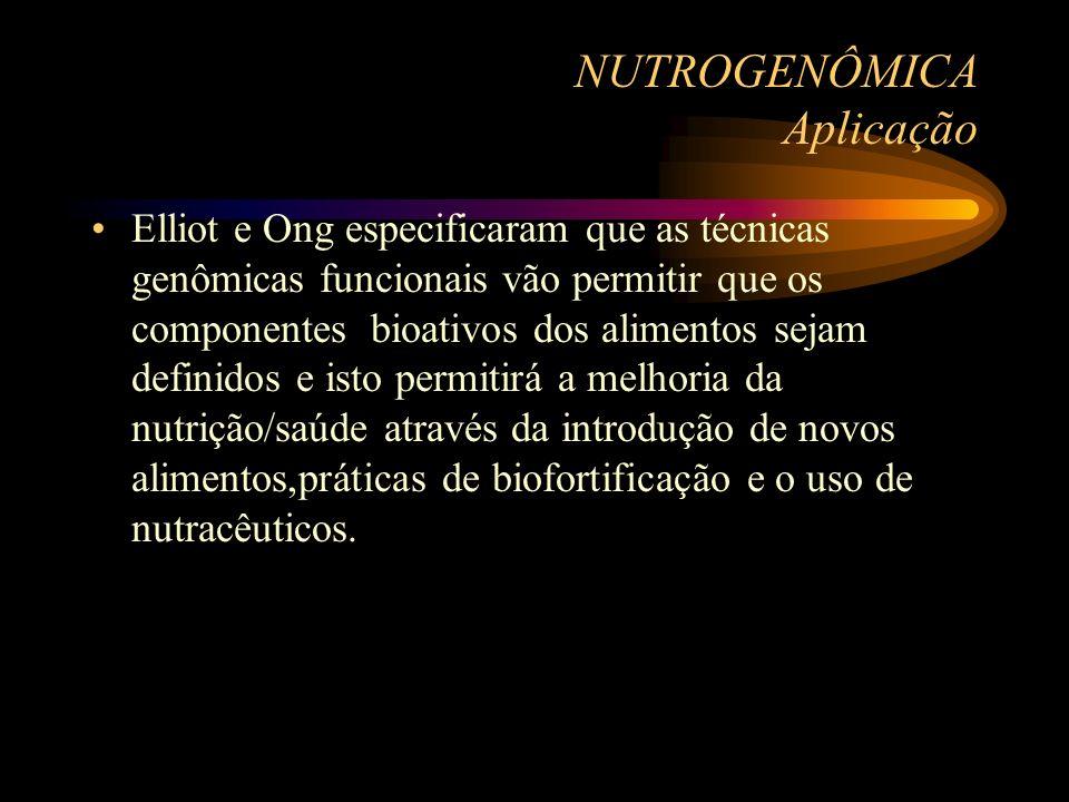 NUTROGENÔMICA Aplicação Elliot e Ong especificaram que as técnicas genômicas funcionais vão permitir que os componentes bioativos dos alimentos sejam