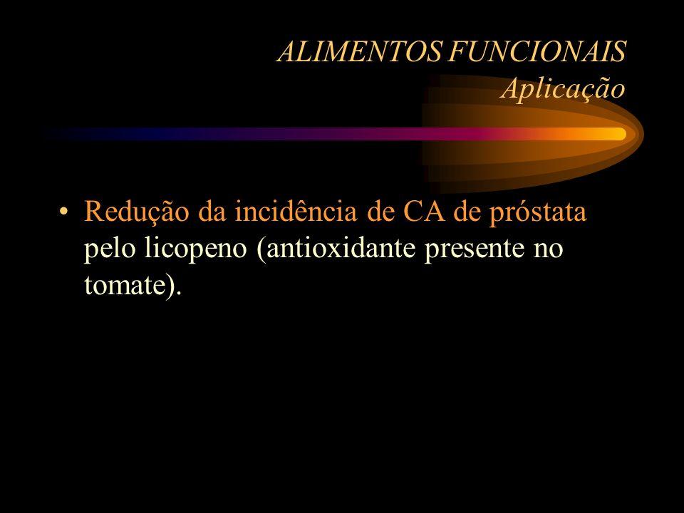 ALIMENTOS FUNCIONAIS Aplicação Redução da incidência de CA de próstata pelo licopeno (antioxidante presente no tomate).