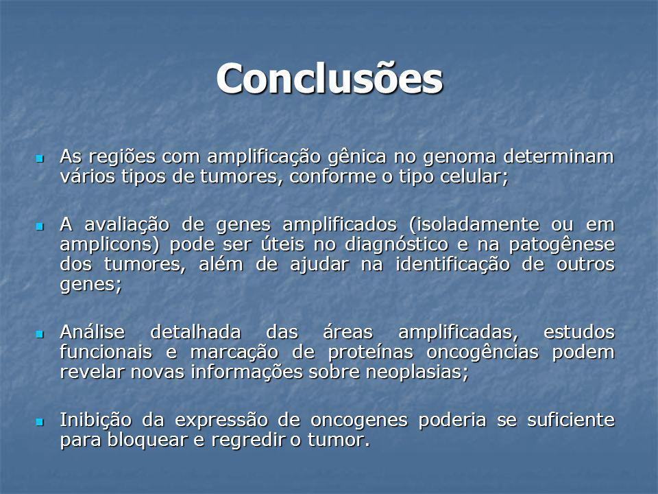 Conclusões As regiões com amplificação gênica no genoma determinam vários tipos de tumores, conforme o tipo celular; As regiões com amplificação gênic
