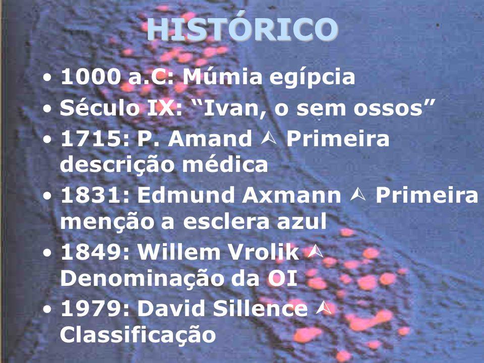 HISTÓRICO 1000 a.C: Múmia egípcia Século IX: Ivan, o sem ossos 1715: P.