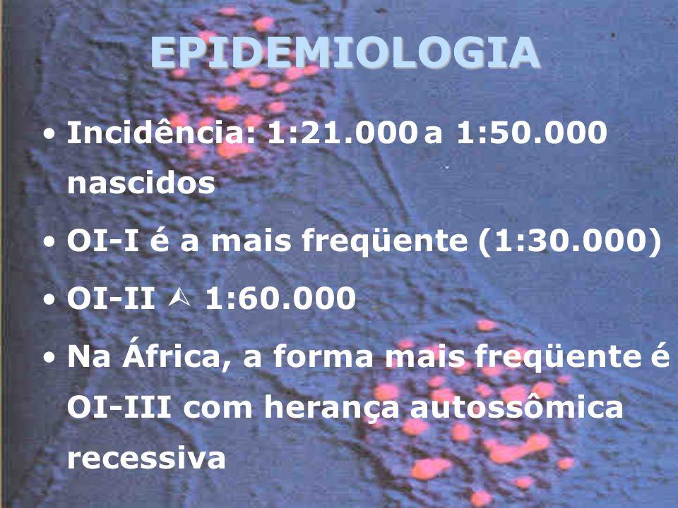 EPIDEMIOLOGIA Incidência: 1:21.000 a 1:50.000 nascidos OI-I é a mais freqüente (1:30.000) OI-II 1:60.000 Na África, a forma mais freqüente é OI-III com herança autossômica recessiva