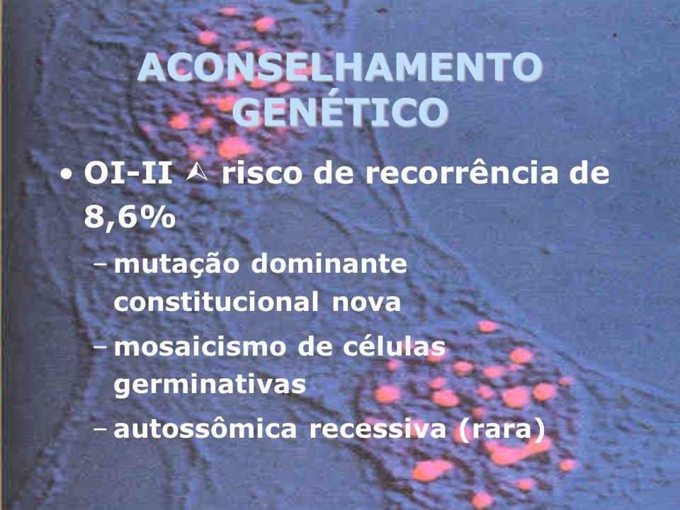 ACONSELHAMENTO GENÉTICO OI-II risco de recorrência de 8,6% –mutação dominante constitucional nova –mosaicismo de células germinativas –autossômica recessiva (rara)