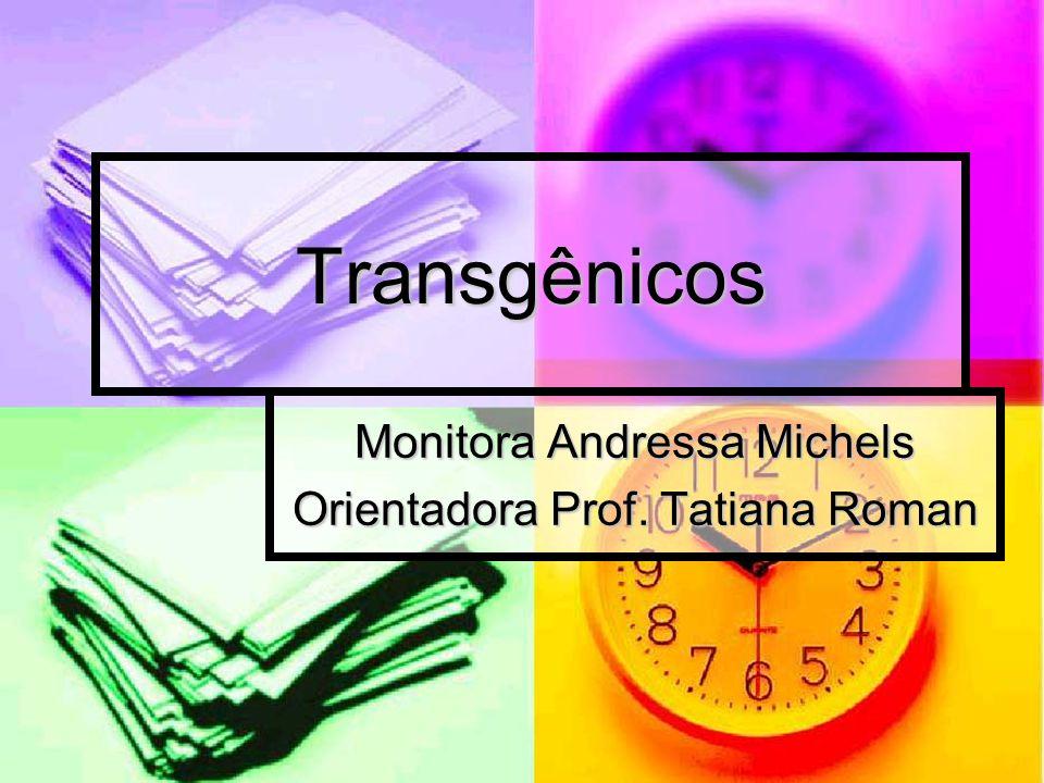Transgênicos Monitora Andressa Michels Orientadora Prof. Tatiana Roman