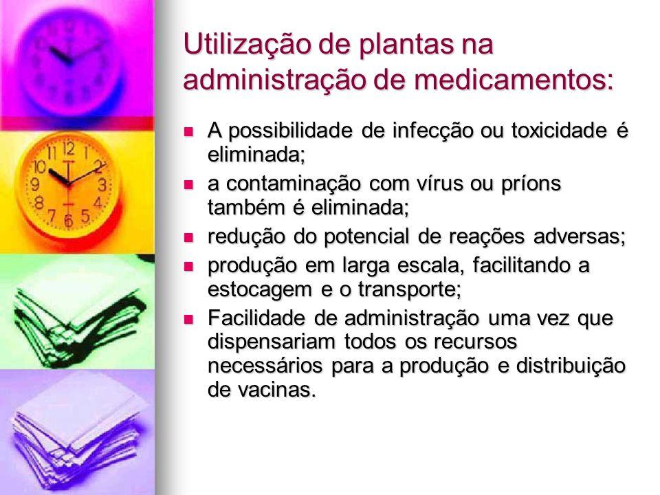 Utilização de plantas na administração de medicamentos: A possibilidade de infecção ou toxicidade é eliminada; A possibilidade de infecção ou toxicida
