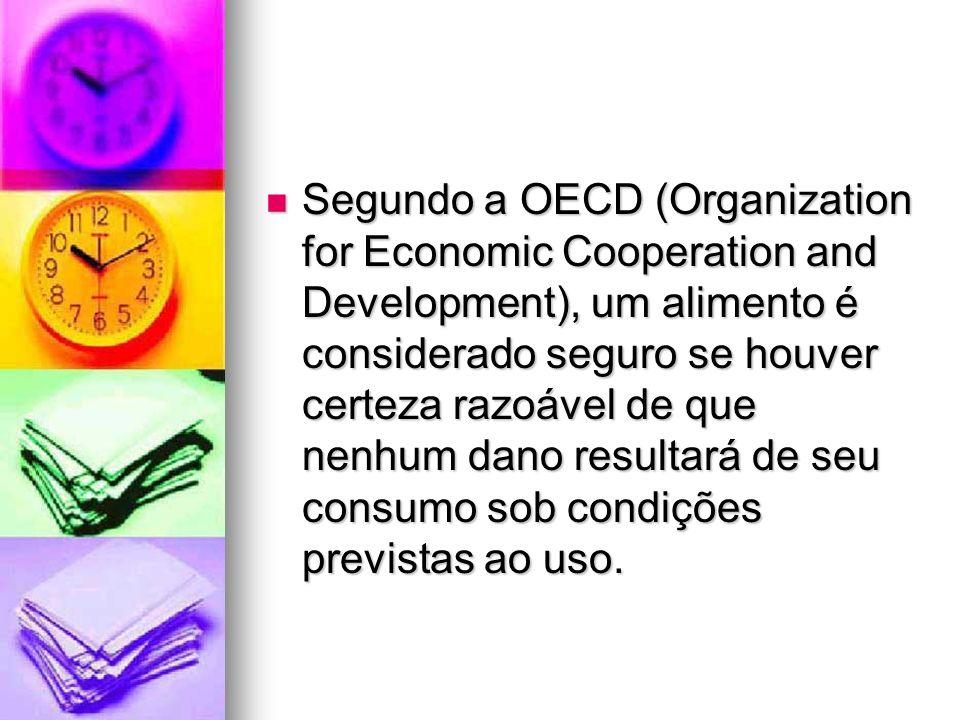 Segundo a OECD (Organization for Economic Cooperation and Development), um alimento é considerado seguro se houver certeza razoável de que nenhum dano