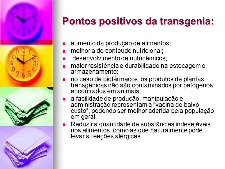 Pontos positivos da transgenia: aumento da produção de alimentos; aumento da produção de alimentos; melhoria do conteúdo nutricional; melhoria do cont