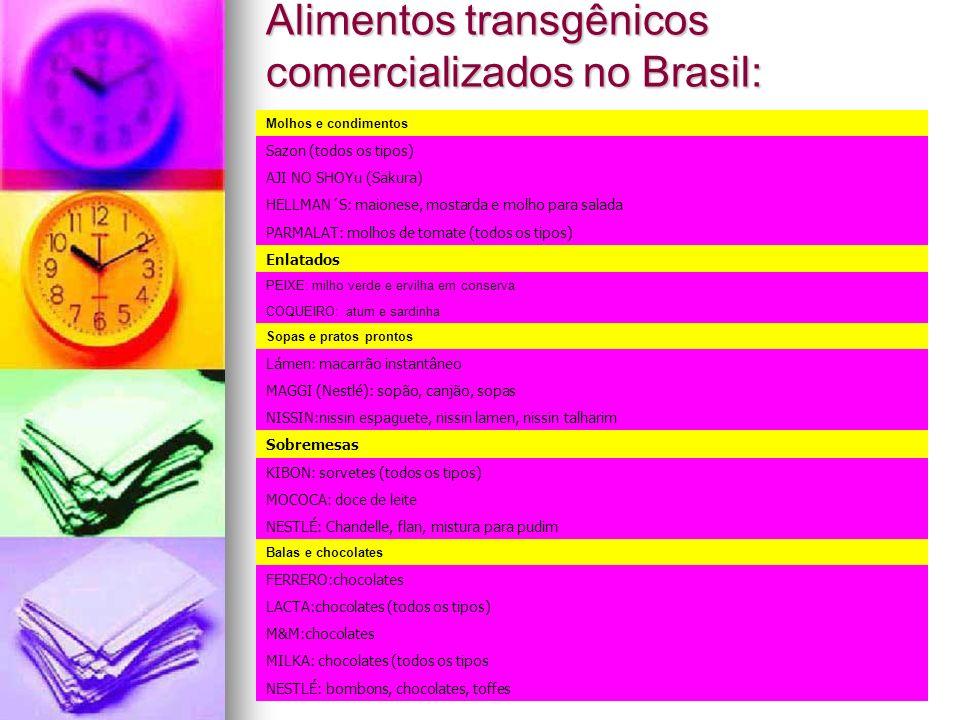 Alimentos transgênicos comercializados no Brasil: Molhos e condimentos Sazon (todos os tipos) AJI NO SHOYu (Sakura) HELLMAN´S: maionese, mostarda e mo