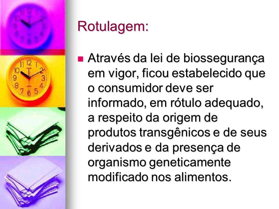 Rotulagem: Através da lei de biossegurança em vigor, ficou estabelecido que o consumidor deve ser informado, em rótulo adequado, a respeito da origem