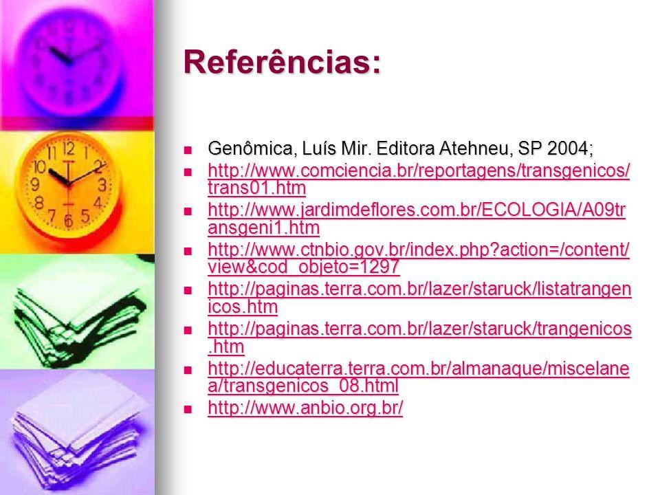 Referências: Genômica, Luís Mir. Editora Atehneu, SP 2004; Genômica, Luís Mir. Editora Atehneu, SP 2004; http://www.comciencia.br/reportagens/transgen
