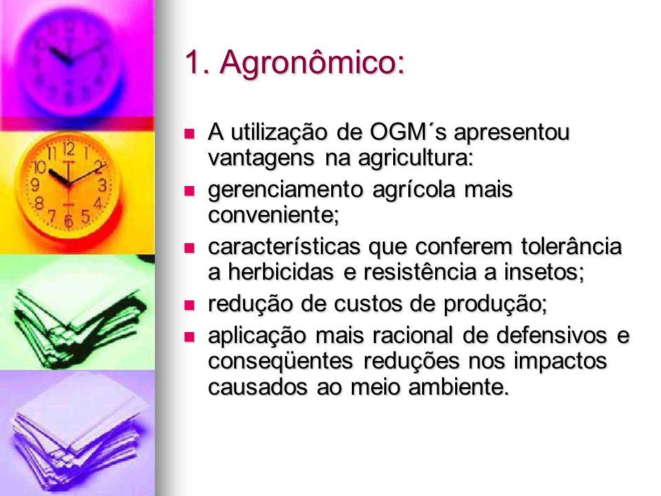 Transgênicos e o meio ambiente: Os pontos de preocupação incluem: Os pontos de preocupação incluem: a capacidade do gene escapar e ser potencialmente introduzido em populações selvagens; a capacidade do gene escapar e ser potencialmente introduzido em populações selvagens; a persistência do gene após o OGM ser colhido; a persistência do gene após o OGM ser colhido; eliminação de insetos benéficos ao equilíbrio ecológico; eliminação de insetos benéficos ao equilíbrio ecológico;