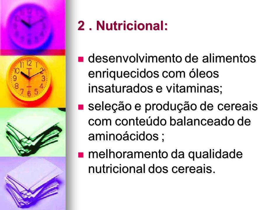 2. Nutricional: desenvolvimento de alimentos enriquecidos com óleos insaturados e vitaminas; desenvolvimento de alimentos enriquecidos com óleos insat