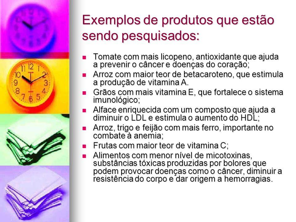Exemplos de produtos que estão sendo pesquisados: Tomate com mais licopeno, antioxidante que ajuda a prevenir o câncer e doenças do coração; Tomate co