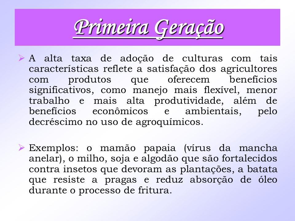 Primeira Geração A alta taxa de adoção de culturas com tais características reflete a satisfação dos agricultores com produtos que oferecem benefícios