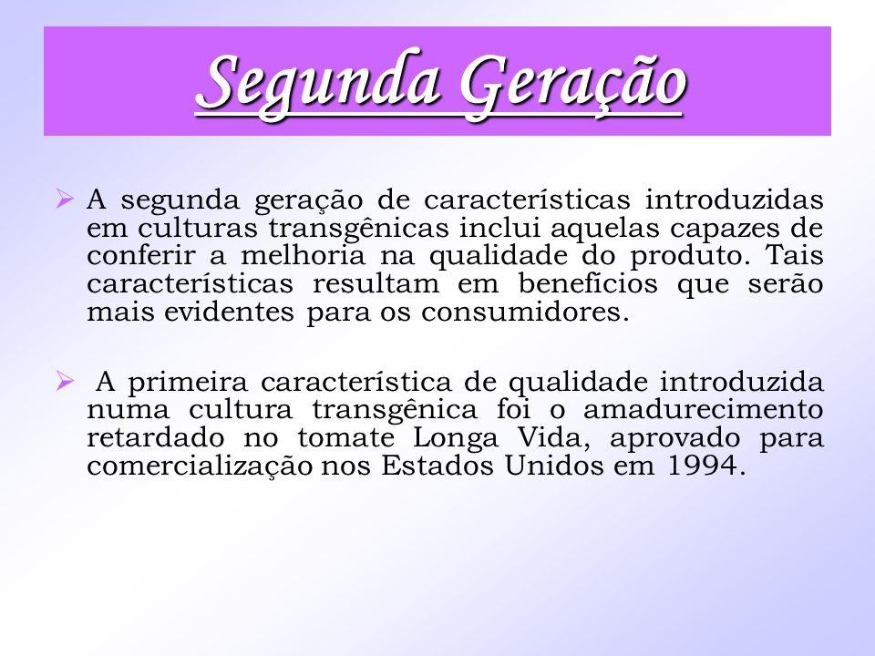 Segunda Geração A segunda geração de características introduzidas em culturas transgênicas inclui aquelas capazes de conferir a melhoria na qualidade
