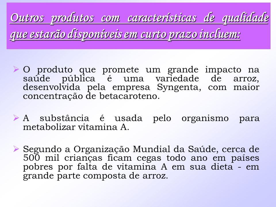 O produto que promete um grande impacto na saúde pública é uma variedade de arroz, desenvolvida pela empresa Syngenta, com maior concentração de betac