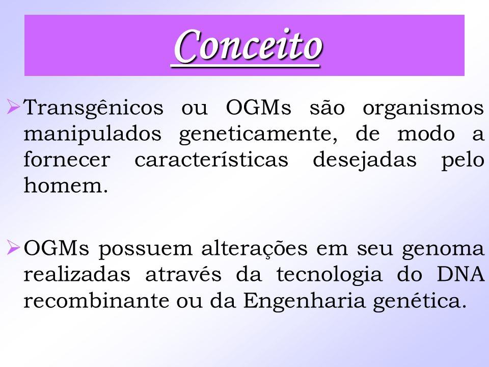 Conceito Transgênicos ou OGMs são organismos manipulados geneticamente, de modo a fornecer características desejadas pelo homem. OGMs possuem alteraçõ