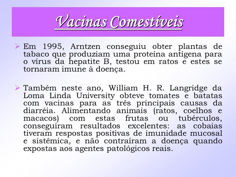 Vacinas Comestíveis Em 1995, Arntzen conseguiu obter plantas de tabaco que produziam uma proteína antígena para o vírus da hepatite B, testou em ratos