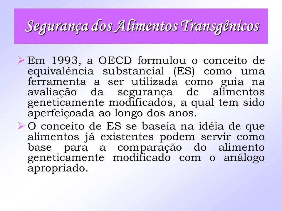 Em 1993, a OECD formulou o conceito de equivalência substancial (ES) como uma ferramenta a ser utilizada como guia na avaliação da segurança de alimen