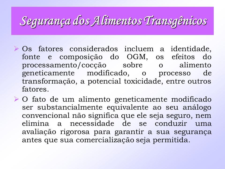Os fatores considerados incluem a identidade, fonte e composição do OGM, os efeitos do processamento/cocção sobre o alimento geneticamente modificado,