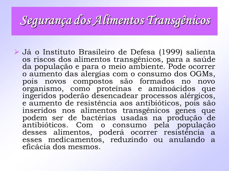Já o Instituto Brasileiro de Defesa (1999) salienta os riscos dos alimentos transgênicos, para a saúde da população e para o meio ambiente. Pode ocorr